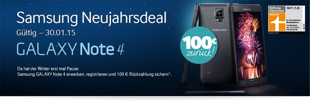 Samsung Galaxy Note 4 Neujahrsdeal - 100 Euro Cashback