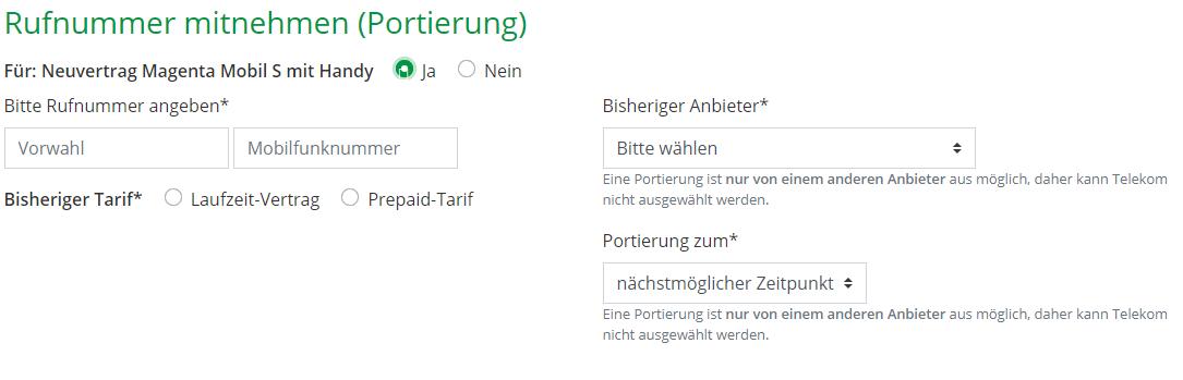 Option Rufnummer mitnehmen im Warenkorb von Mobileforyou