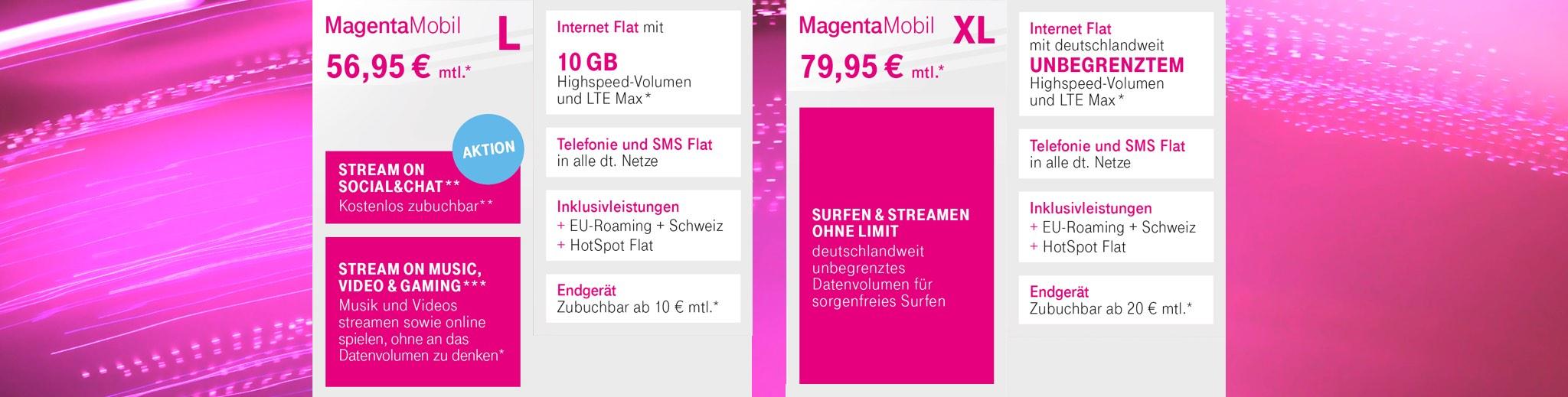 Telekom Magenta Tarife L und XL