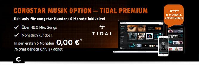 congstar Musik Option - Tidal 6 Monate gratis: